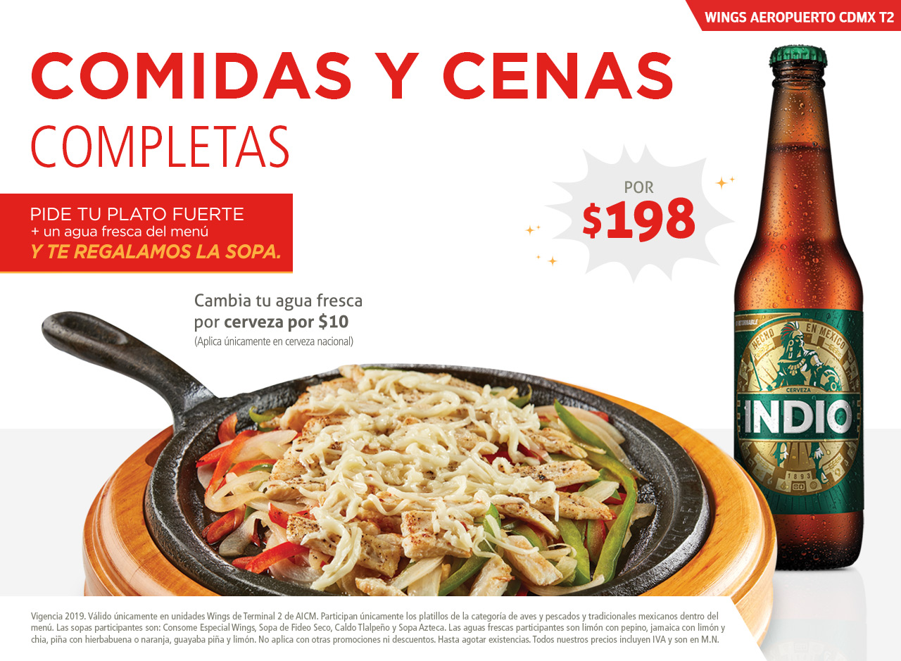 Come y cena completo en Wings